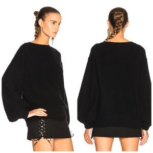 HELMUT LANG Wool Cashmere Balloon Sleeve Sweater